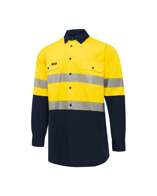 D/N Hi-Vis Cotton Drill Workshirt - 'Hooped'